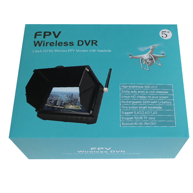 1.2GHz 5inch Mini Wireless Camera DVR Wireless FPV Monitor With Sunshade